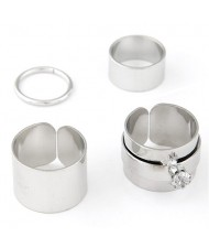 Young Girl Fashion Four Pieces Alloy Ring Set - Silver