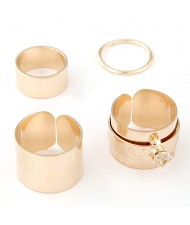 Young Girl Fashion Four Pieces Alloy Ring Set - Golden