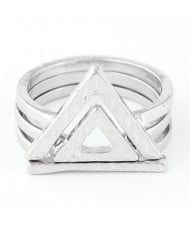 High Fashion Triangle Shape Three Pieces Combo Ring - Silver