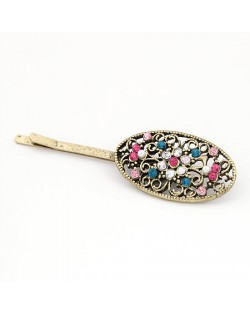 Korean Fashion Colorful Rhinestone Inlaid Hollow Floral Hair Clips