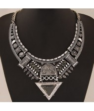 Multiple Elements Arch with Resin Gem Triangle Design Bold Fashion Necklace - Vintage Silver