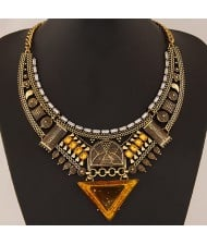 Multiple Elements Arch with Resin Gem Triangle Design Bold Fashion Necklace - Vintage Copper