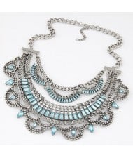 Resin Gems Embellished Splendid Fake Collar Short Fashion Necklace - Silver and Blue