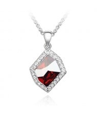Romantic Love Theme Irregular Austrian Crystal Pendant Platinum Plating Alloy Necklace - Red