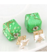 Rhinestone Decorated Turquoise Texture Cube Fashion Earrings - Green