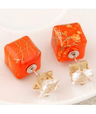 Rhinestone Decorated Turquoise Texture Cube Fashion Earrings - Orange