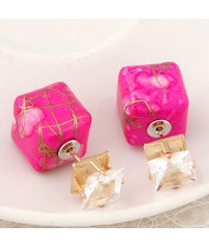 Rhinestone Decorated Turquoise Texture Cube Fashion Earrings - Rose