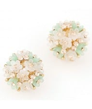 Sakura Floral Ball Design Fashion Ear Studs - Green