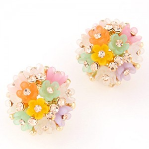 Sakura Floral Ball Design Fashion Ear Studs - Multicolor