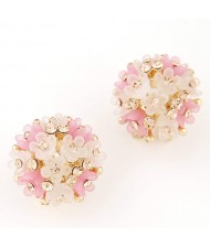 Sakura Floral Ball Design Fashion Ear Studs - Pink