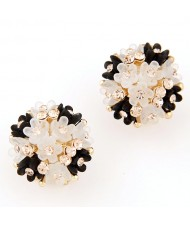 Sakura Floral Ball Design Fashion Ear Studs - Black