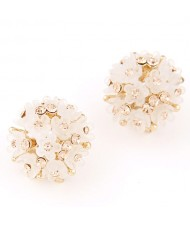Sakura Floral Ball Design Fashion Ear Studs - Beige