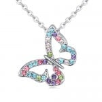 Colorful Austrian Crystal Vivid Flying Butterfly Pendant Platinum Plating Alloy Necklace