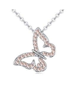 Light Peach Austrian Crystal Vivid Flying Butterfly Pendant Platinum Plating Alloy Necklace