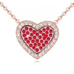 Heart in the Heart Love Theme Austrian Crystal Necklace - Red