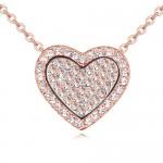 Heart in the Heart Love Theme Austrian Crystal Necklace - Light Peach