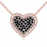 Heart in the Heart Love Theme Austrian Crystal Necklace - Black