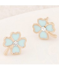 Korean Fashion Oil-spot Glazed Four Leaf Clover Ear Studs - Blue