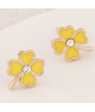 Korean Fashion Oil-spot Glazed Four Leaf Clover Ear Studs - Yellow