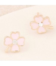 Korean Fashion Oil-spot Glazed Four Leaf Clover Ear Studs - Light Pink