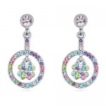 Lucky Four Leaf Clover Hollow Pendant Ring Design Austrian Crystal Earrings - Multicolor