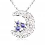 Cute Moon and Stars Design Austrian Crystal Necklace - Purple