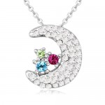 Cute Moon and Stars Design Austrian Crystal Necklace - Multicolor