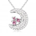 Cute Moon and Stars Design Austrian Crystal Necklace - Light Rose