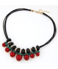 Cherry Pendants Wax Rope Statement Fashion Necklace