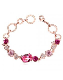 Austrian Crystal Inlaid Champagne Gold Linked Rings Design Bracelet - Rose