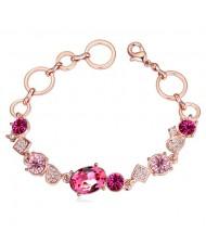 Austrian Crystal Inlaid Champagne Gold Linked Rings Design Bracelet - Rose