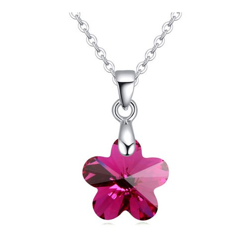 Cute tiny crystal flower pendant platinum plating necklace for Gemsprouts tiny plant jewelry