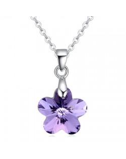 Cute Tiny Crystal Flower Pendant Platinum Plating Necklace - Violet