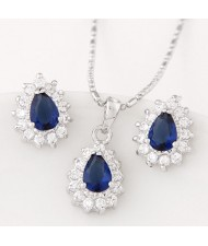Korean Fashion Cubic Zirconia Embellished Elegant Waterdrops Design Fashion Necklace and Earrings Set - Blue