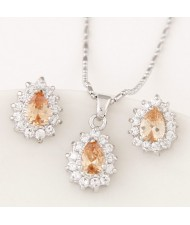 Korean Fashion Cubic Zirconia Embellished Elegant Waterdrops Design Fashion Necklace and Earrings Set - Champagne