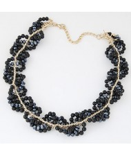 Handmade Dimensional Weaving Design Metallic Beads Statement Fashion Necklace - Black