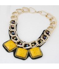 Western Bold Fashion Triple Square Gem Pendants Golden Metallic Chain Necklace - Yellow