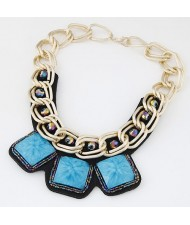 Western Bold Fashion Triple Square Gem Pendants Golden Metallic Chain Necklace - Blue