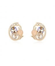 Graceful Butterfly Inspired Hollow Design Austrian Crystal Ear Studs - Luminous Green