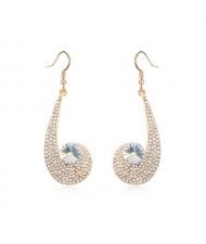 Peacock Plume Inspired Pendant Austrian Crystal Earrings - Transparent