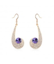 Peacock Plume Inspired Pendant Austrian Crystal Earrings - Purple