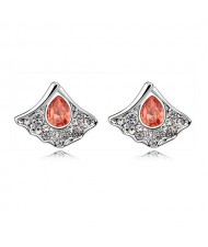 Austrian Crystal Inlaid Elegant Fan Shape Ear Studs - Red