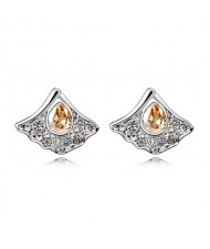 Austrian Crystal Inlaid Elegant Fan Shape Ear Studs - Golden