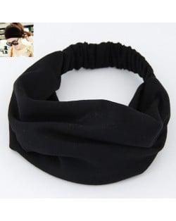 Korean High Fashion Wide Elastic Cotton Hair Hoop - Black