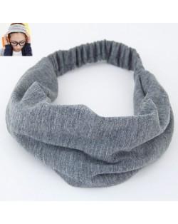 Korean High Fashion Wide Elastic Cotton Hair Hoop - Gray
