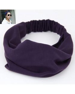 Korean High Fashion Wide Elastic Cotton Hair Hoop - Purple