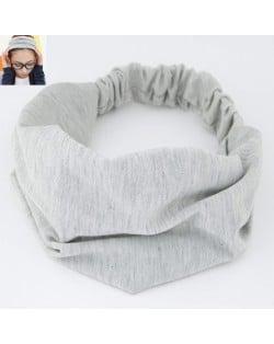 Korean High Fashion Wide Elastic Cotton Hair Hoop - Light Gray