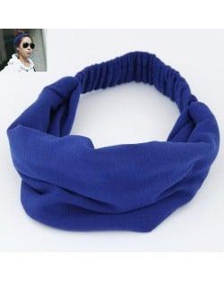 Korean High Fashion Wide Elastic Cotton Hair Hoop - Blue