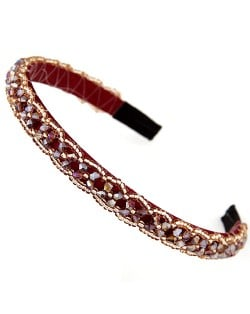 Crystal Beads and Golden Beads Decorated Handmade Sweet Fashion Hair Hoop - Red
