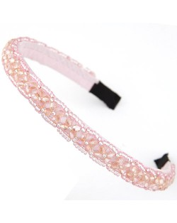 Crystal Beads and Golden Beads Decorated Handmade Sweet Fashion Hair Hoop - Pink